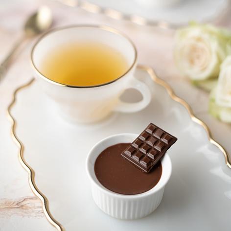 Pots au chocolat με καρδιά καραμέλας