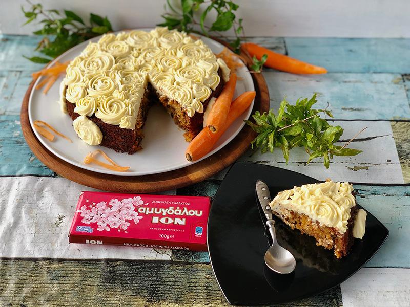 Carrot cake με ανανά και ΙΟΝ Αμυγδάλου