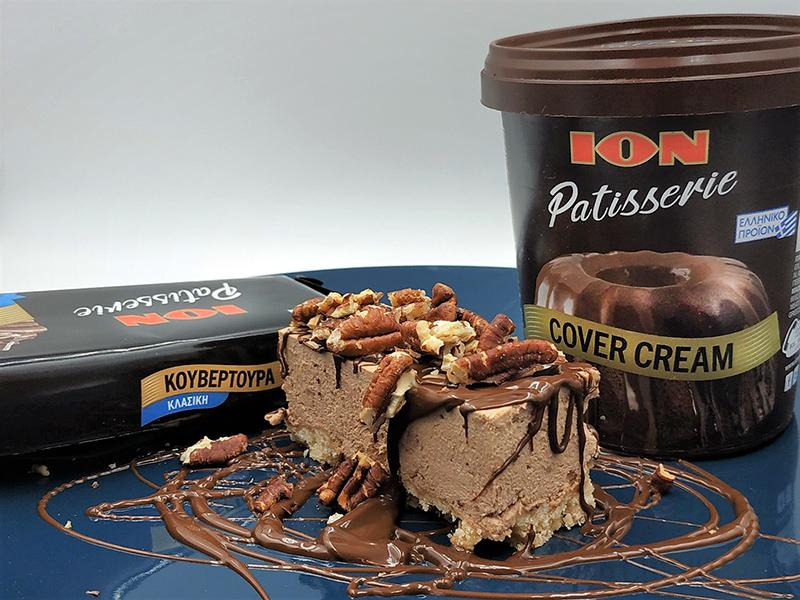 Cheesecake Pecan με ION Patisserie Κουβερτούρα υγείας και ION Patisserie Cover Cream