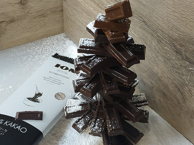 Christmas tree με κουβερτούρα με 72% κακάο και κουβερτούρα γάλακτος ΙΟΝ