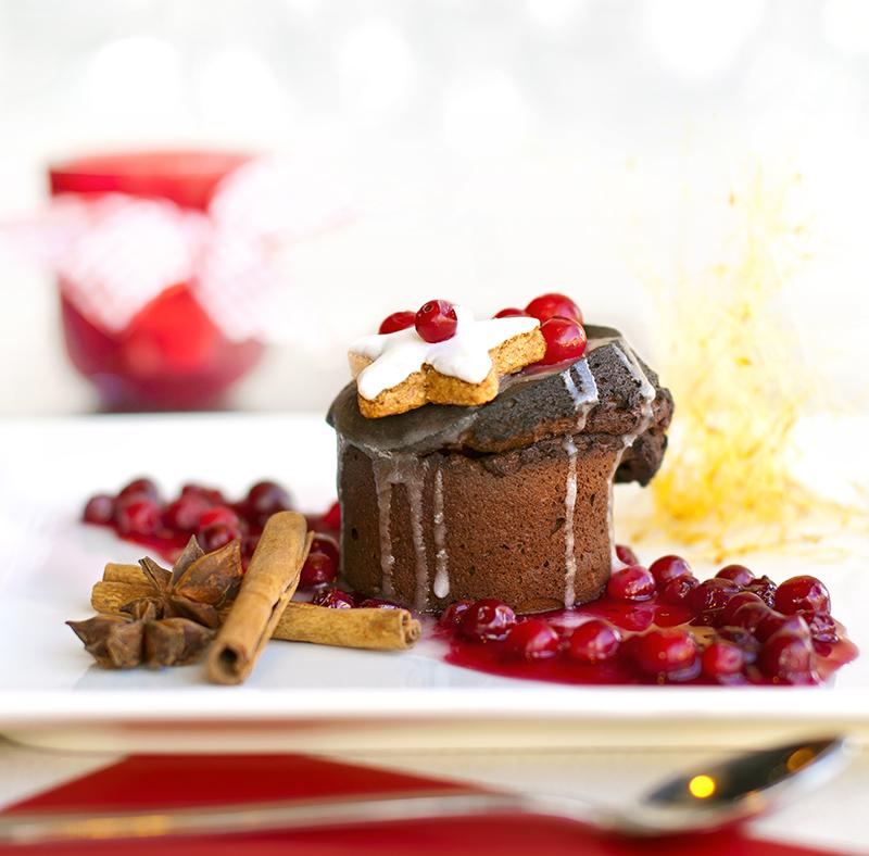 Moelleux σοκολάτας με Nucrema και cranberries
