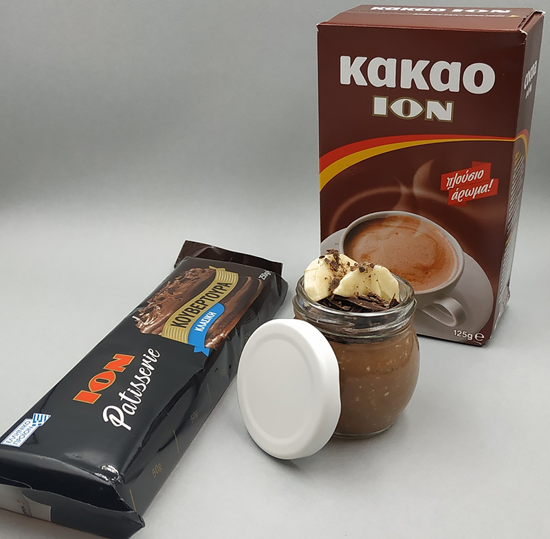 Oat meal με γάλα αμυγδάλου, ION Patisserie Kουβερτούρα κλασική και ΙΟΝ Κακάο