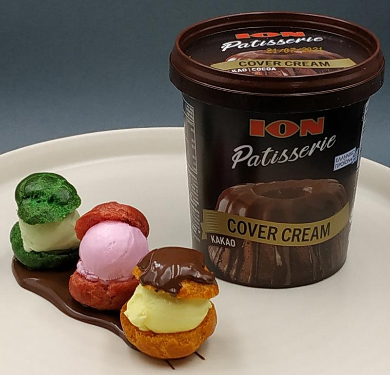Παγωτό 3 γεύσεων φιστίκι, φράουλα, μπανάνα και ΙΟΝ Patisserie Cover Cream