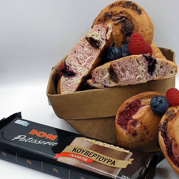 Ψωμί με blueberry, raspberry και ION Patisserie κουβερτούρα γάλακτος