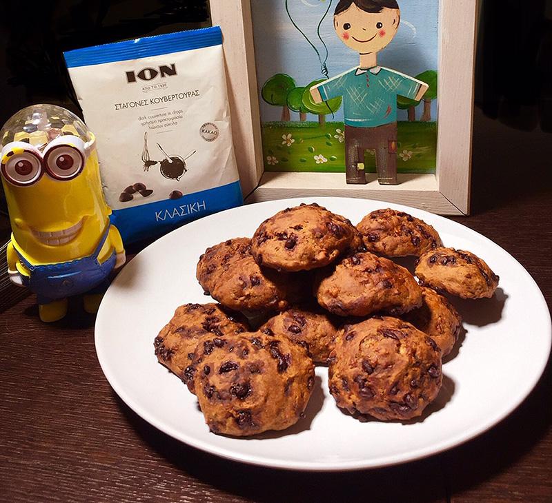 Banana bread cookies με σταγόνες σοκολάτας ΙON