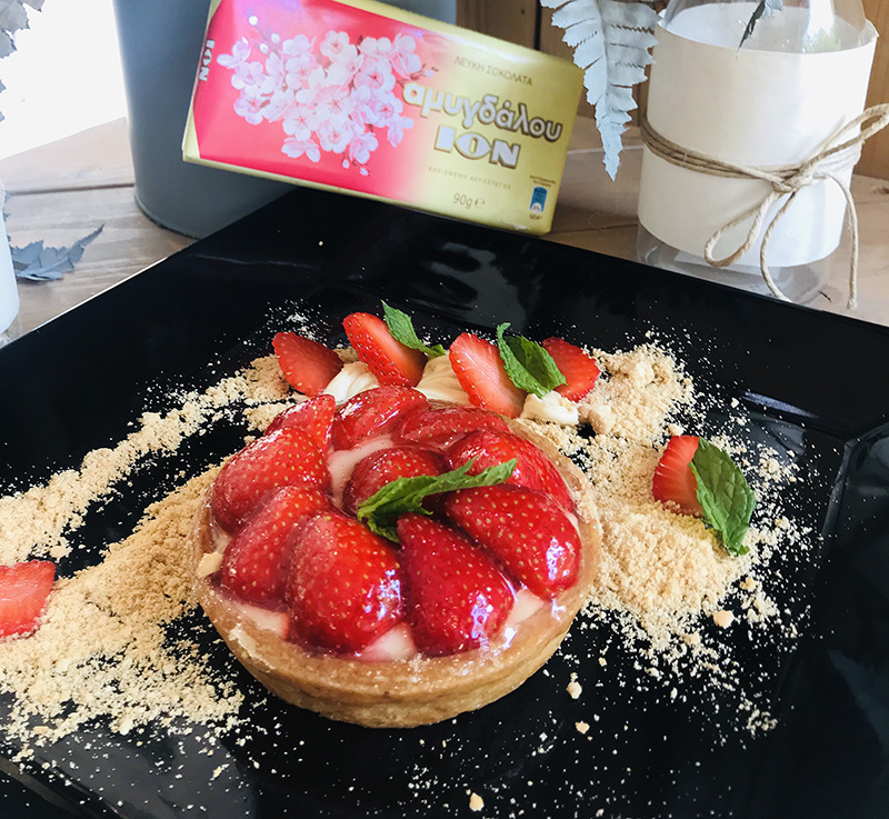 Tάρτα φράουλα με κρέμα λευκής σοκολάτας αμυγδάλου ΙΟΝ